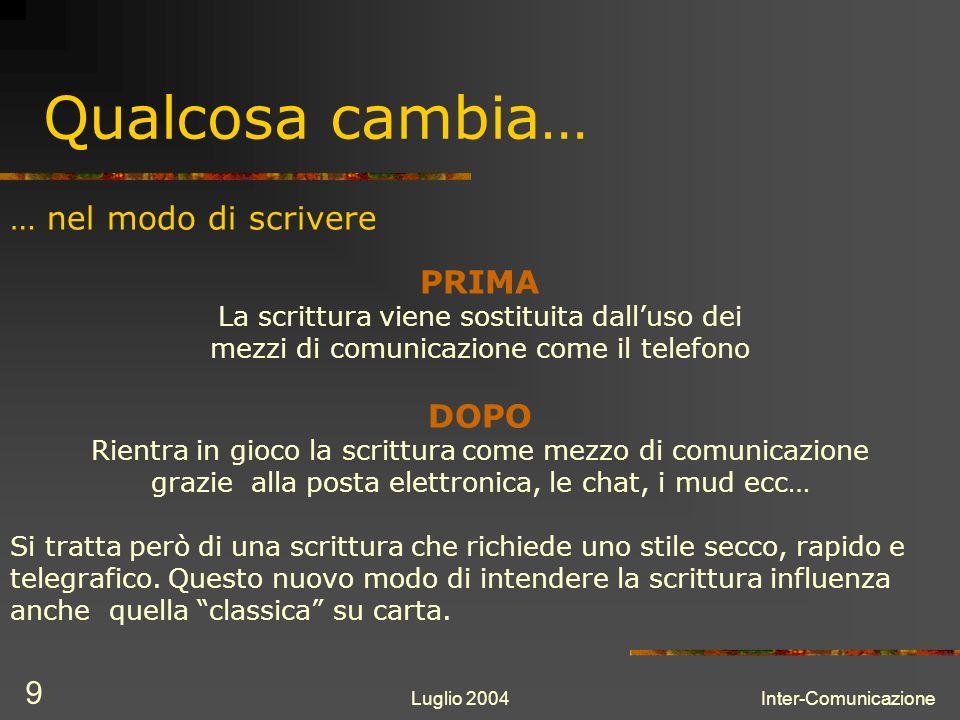 Luglio 2004Inter-Comunicazione 10 …nel modo di scrivere Abbreviazioni Si ha la tendenza ad abbreviare qualunque frase per potere scrivere più concetti nel minor tempo possibile.