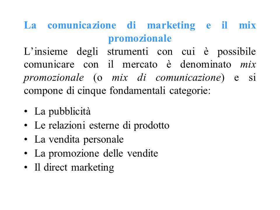 La comunicazione di marketing e il mix promozionale Linsieme degli strumenti con cui è possibile comunicare con il mercato è denominato mix promoziona