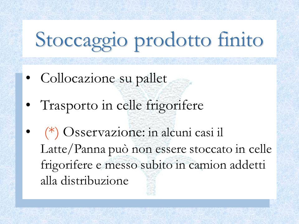 Stoccaggio prodotto finito Collocazione su pallet Trasporto in celle frigorifere (*) Osservazione: in alcuni casi il Latte/Panna può non essere stocca
