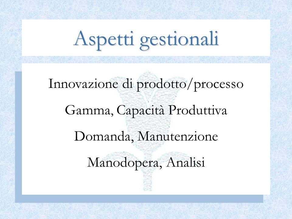 Aspetti gestionali Innovazione di prodotto/processo Gamma, Capacità Produttiva Domanda, Manutenzione Manodopera, Analisi