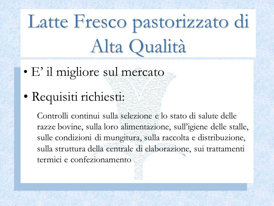 Latte Fresco pastorizzato di Alta Qualità E il migliore sul mercato Requisiti richiesti: Controlli continui sulla selezione e lo stato di salute delle