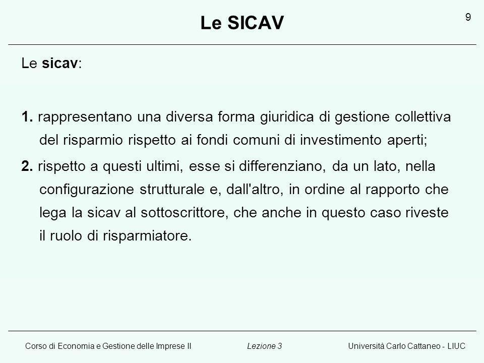 Corso di Economia e Gestione delle Imprese IIUniversità Carlo Cattaneo - LIUCLezione 3 9 Le SICAV Le sicav: 1.