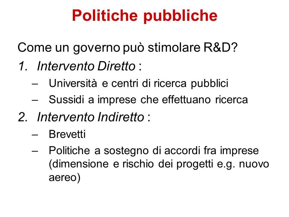Politiche pubbliche Come un governo può stimolare R&D? 1.Intervento Diretto : –Università e centri di ricerca pubblici –Sussidi a imprese che effettua