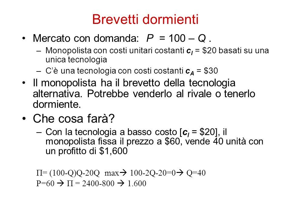 Brevetti dormienti Mercato con domanda: P = 100 – Q. –Monopolista con costi unitari costanti c I = $20 basati su una unica tecnologia –Cè una tecnolog