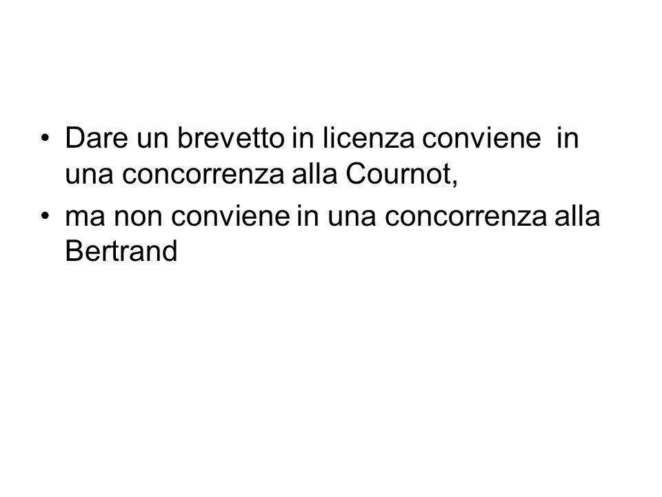 Dare un brevetto in licenza conviene in una concorrenza alla Cournot, ma non conviene in una concorrenza alla Bertrand