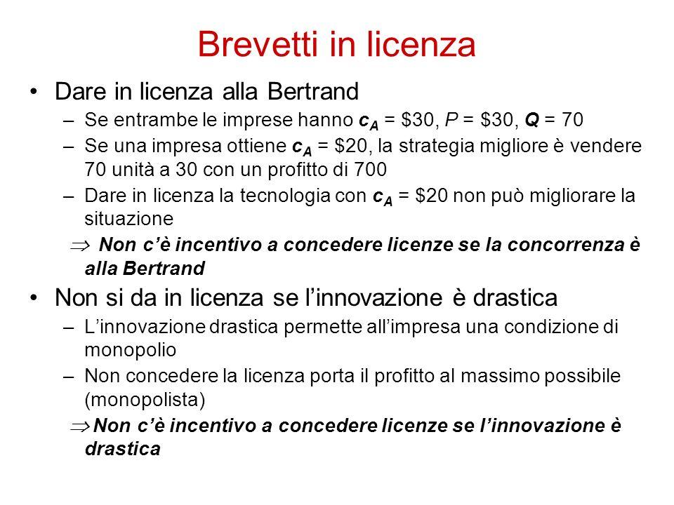Dare in licenza alla Bertrand –Se entrambe le imprese hanno c A = $30, P = $30, Q = 70 –Se una impresa ottiene c A = $20, la strategia migliore è vend