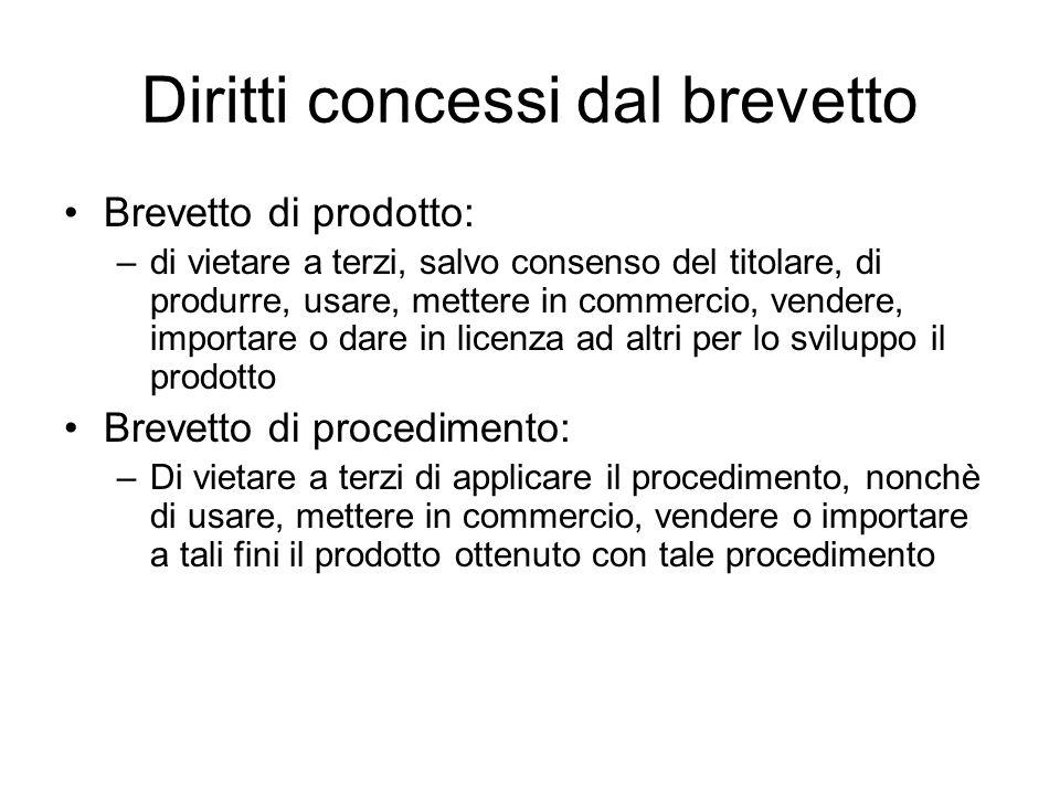 Diritti concessi dal brevetto Brevetto di prodotto: –di vietare a terzi, salvo consenso del titolare, di produrre, usare, mettere in commercio, vender