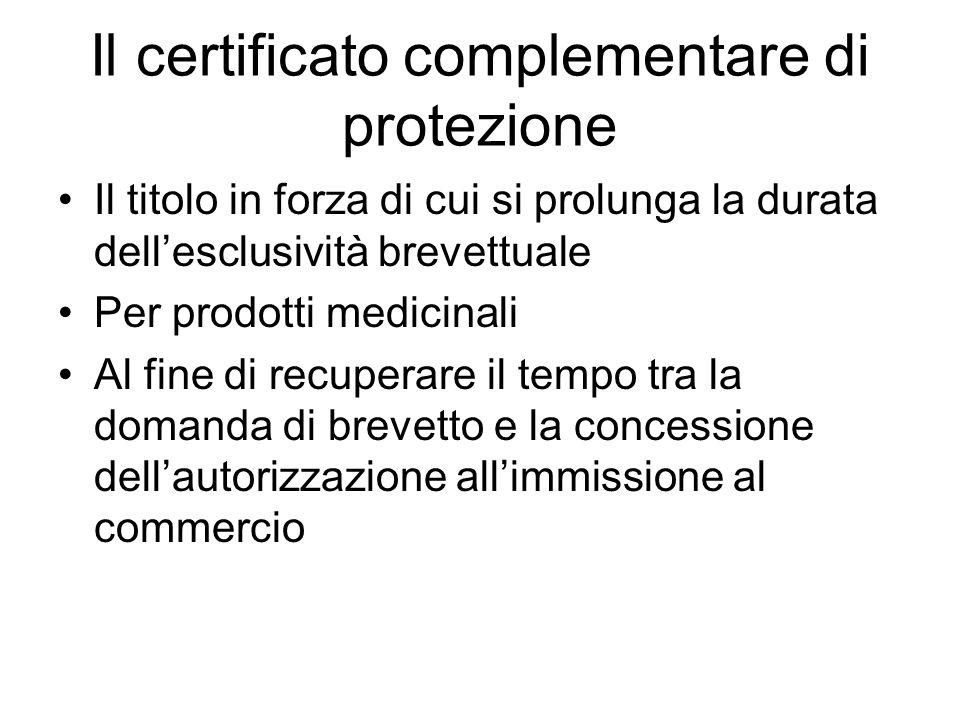 Il certificato complementare di protezione Il titolo in forza di cui si prolunga la durata dellesclusività brevettuale Per prodotti medicinali Al fine