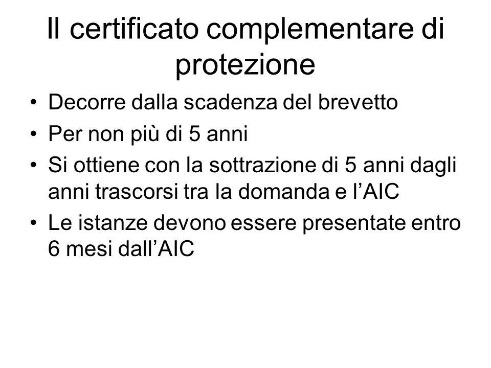Il certificato complementare di protezione Decorre dalla scadenza del brevetto Per non più di 5 anni Si ottiene con la sottrazione di 5 anni dagli ann