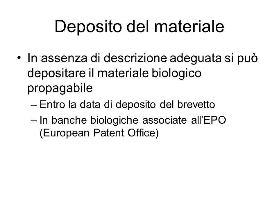 Deposito del materiale In assenza di descrizione adeguata si può depositare il materiale biologico propagabile –Entro la data di deposito del brevetto