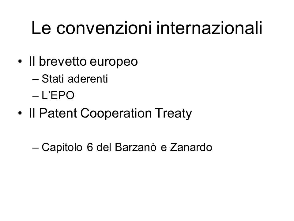 Le convenzioni internazionali Il brevetto europeo –Stati aderenti –LEPO Il Patent Cooperation Treaty –Capitolo 6 del Barzanò e Zanardo