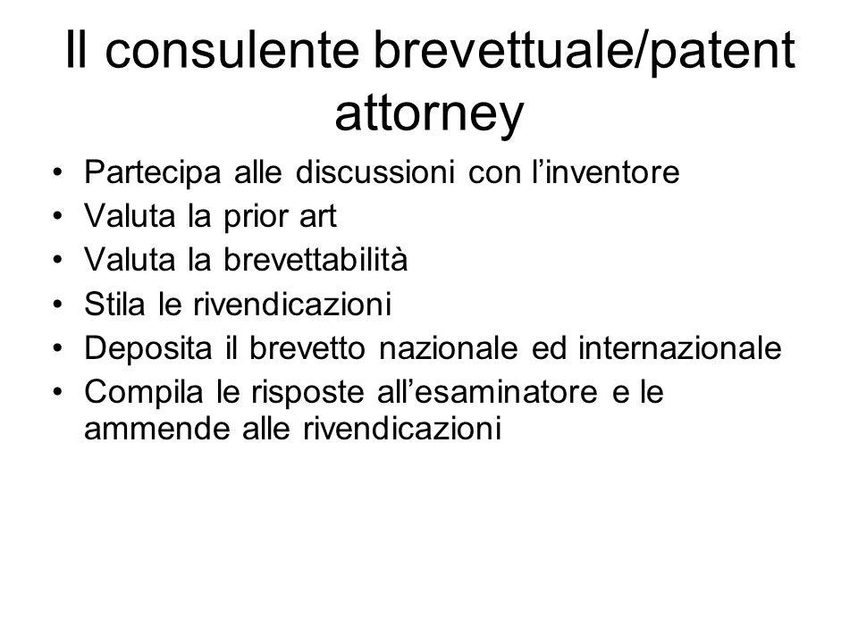 Il consulente brevettuale/patent attorney Partecipa alle discussioni con linventore Valuta la prior art Valuta la brevettabilità Stila le rivendicazio