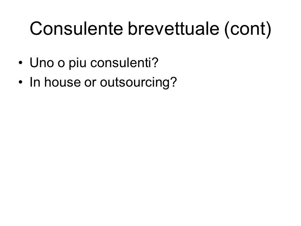 Consulente brevettuale (cont) Uno o piu consulenti? In house or outsourcing?