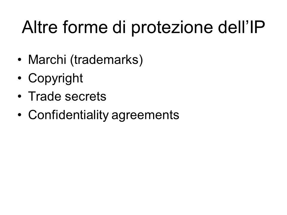 Altre forme di protezione dellIP Marchi (trademarks) Copyright Trade secrets Confidentiality agreements