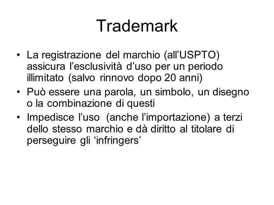 Trademark La registrazione del marchio (allUSPTO) assicura lesclusività duso per un periodo illimitato (salvo rinnovo dopo 20 anni) Può essere una par
