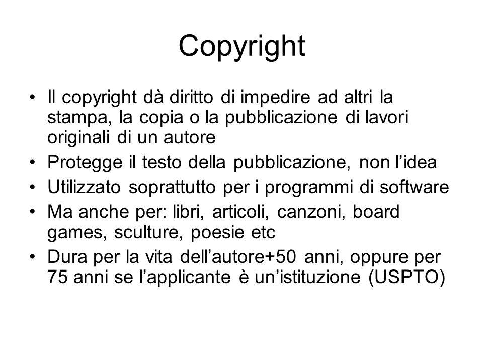 Copyright Il copyright dà diritto di impedire ad altri la stampa, la copia o la pubblicazione di lavori originali di un autore Protegge il testo della