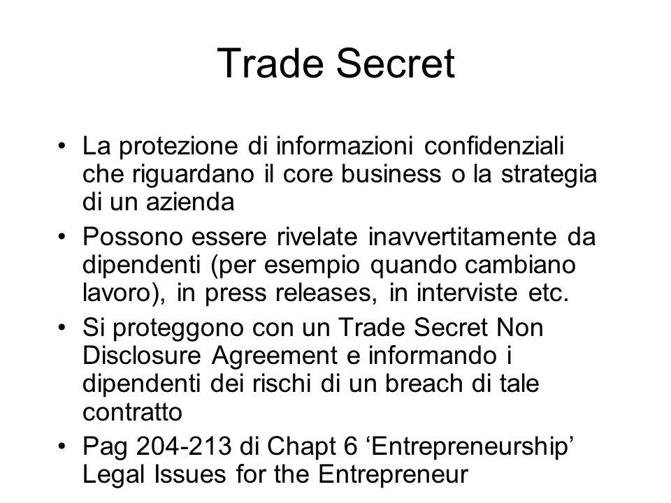 Trade Secret La protezione di informazioni confidenziali che riguardano il core business o la strategia di un azienda Possono essere rivelate inavvert