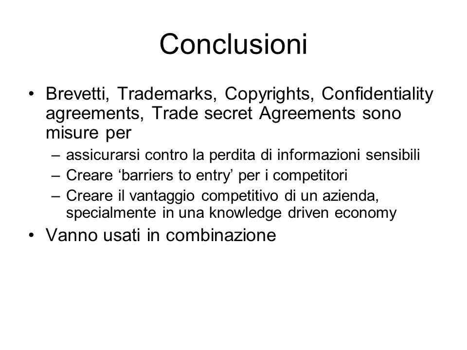 Conclusioni Brevetti, Trademarks, Copyrights, Confidentiality agreements, Trade secret Agreements sono misure per –assicurarsi contro la perdita di in