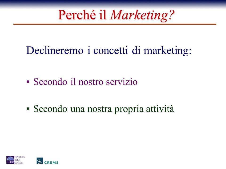 Declineremo i concetti di marketing: Secondo il nostro servizio Secondo una nostra propria attività Perché il Marketing?