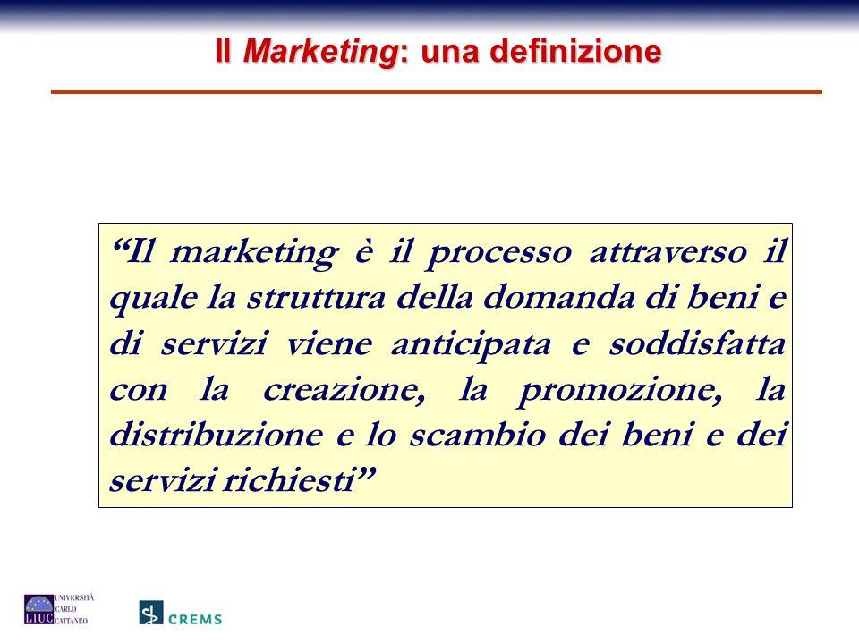 Il marketing è il processo attraverso il quale la struttura della domanda di beni e di servizi viene anticipata e soddisfatta con la creazione, la pro