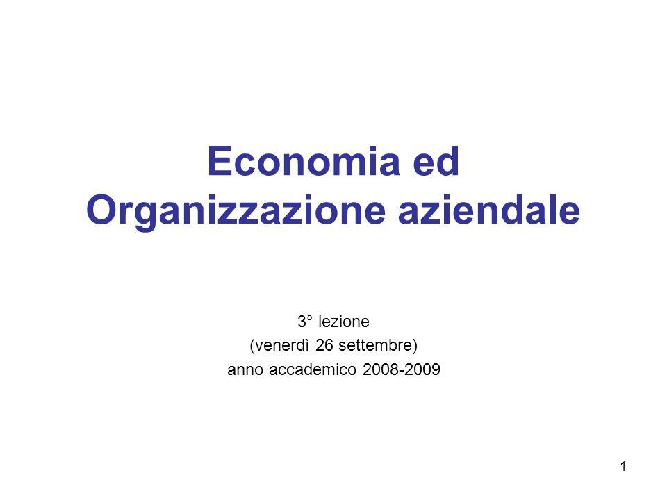 1 Economia ed Organizzazione aziendale 3° lezione (venerdì 26 settembre) anno accademico 2008-2009