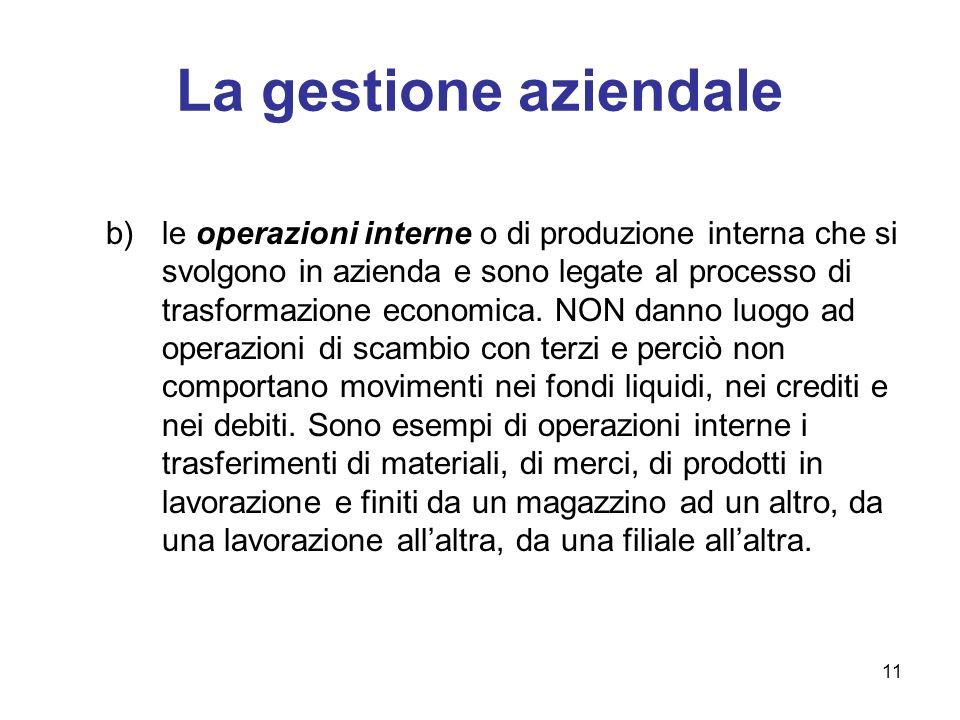 11 La gestione aziendale b)le operazioni interne o di produzione interna che si svolgono in azienda e sono legate al processo di trasformazione econom