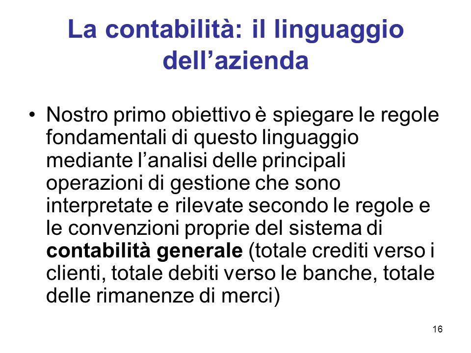 16 La contabilità: il linguaggio dellazienda Nostro primo obiettivo è spiegare le regole fondamentali di questo linguaggio mediante lanalisi delle pri