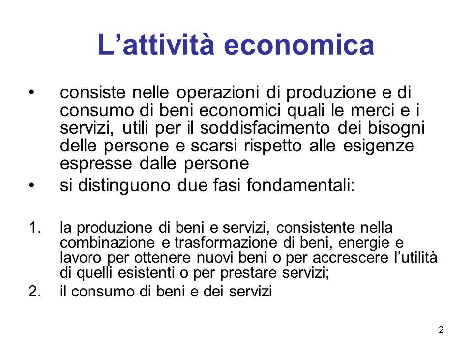 2 Lattività economica consiste nelle operazioni di produzione e di consumo di beni economici quali le merci e i servizi, utili per il soddisfacimento