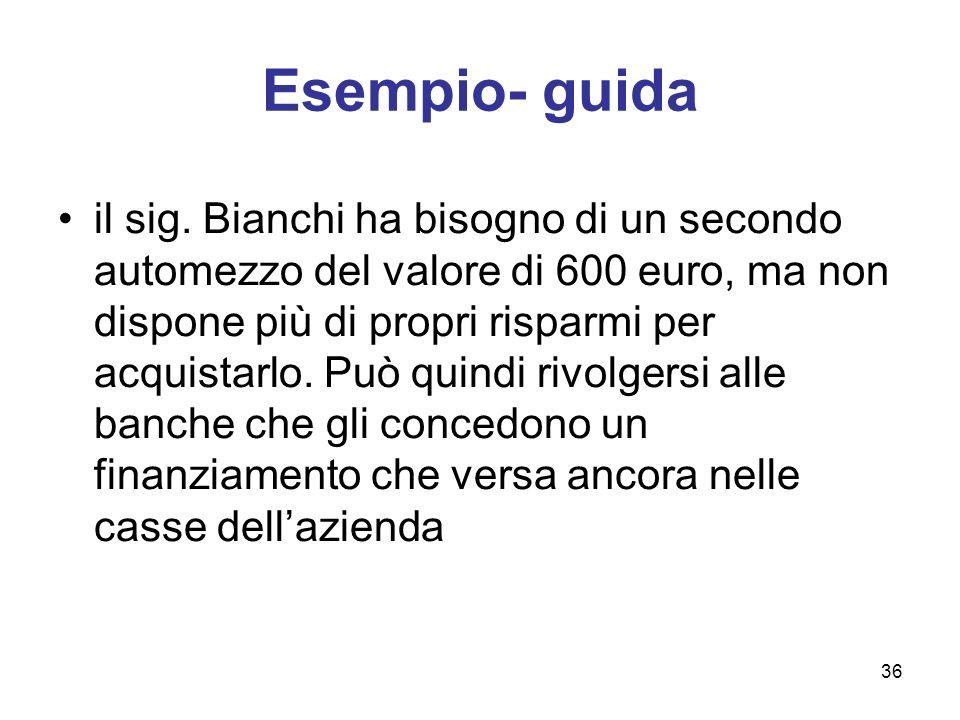 36 Esempio- guida il sig. Bianchi ha bisogno di un secondo automezzo del valore di 600 euro, ma non dispone più di propri risparmi per acquistarlo. Pu