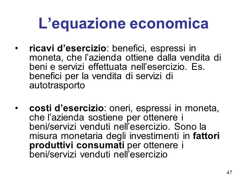 47 Lequazione economica ricavi desercizio: benefici, espressi in moneta, che lazienda ottiene dalla vendita di beni e servizi effettuata nellesercizio
