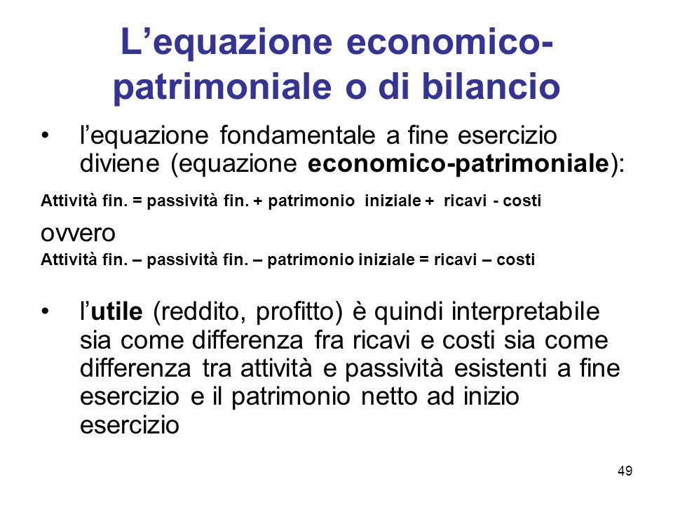 49 Lequazione economico- patrimoniale o di bilancio lequazione fondamentale a fine esercizio diviene (equazione economico-patrimoniale): Attività fin.