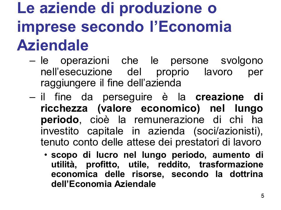 5 Le aziende di produzione o imprese secondo lEconomia Aziendale –le operazioni che le persone svolgono nellesecuzione del proprio lavoro per raggiung