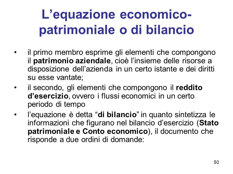 50 Lequazione economico- patrimoniale o di bilancio il primo membro esprime gli elementi che compongono il patrimonio aziendale, cioè linsieme delle r