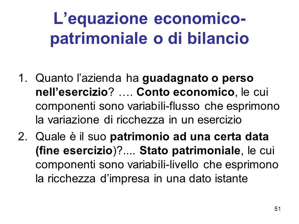51 Lequazione economico- patrimoniale o di bilancio 1.Quanto lazienda ha guadagnato o perso nellesercizio? …. Conto economico, le cui componenti sono