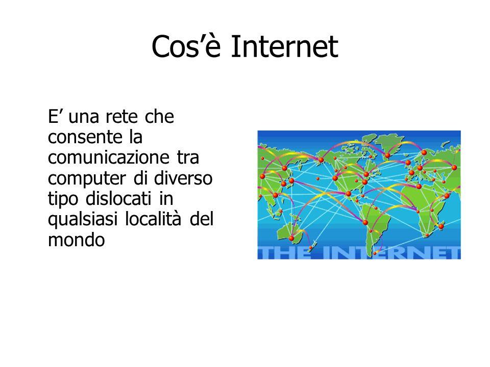 Cosè Internet E una rete che consente la comunicazione tra computer di diverso tipo dislocati in qualsiasi località del mondo