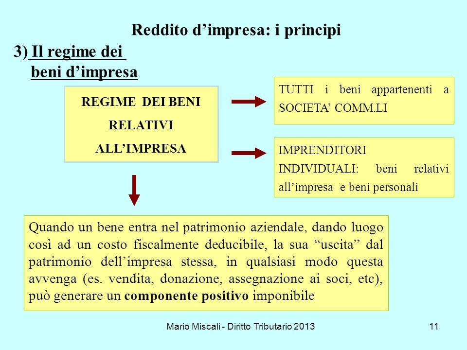 Mario Miscali - Diritto Tributario 201311 Reddito dimpresa: i principi REGIME DEI BENI RELATIVI ALLIMPRESA Quando un bene entra nel patrimonio azienda