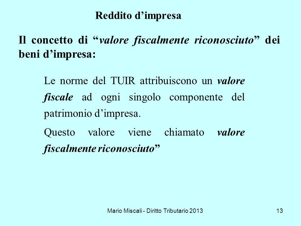 Mario Miscali - Diritto Tributario 201313 Reddito dimpresa Le norme del TUIR attribuiscono un valore fiscale ad ogni singolo componente del patrimonio