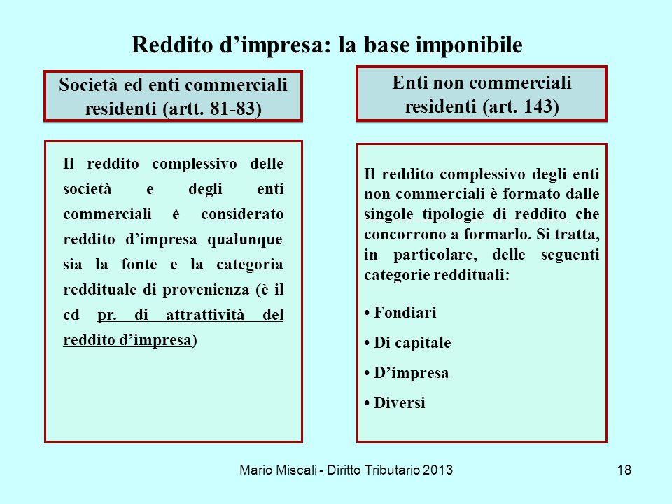 Mario Miscali - Diritto Tributario 201318 Il reddito complessivo degli enti non commerciali è formato dalle singole tipologie di reddito che concorron