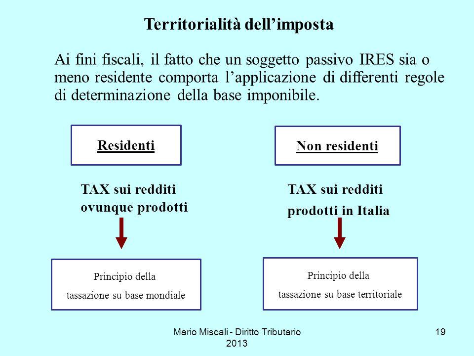 Mario Miscali - Diritto Tributario 2013 19 Ai fini fiscali, il fatto che un soggetto passivo IRES sia o meno residente comporta lapplicazione di diffe