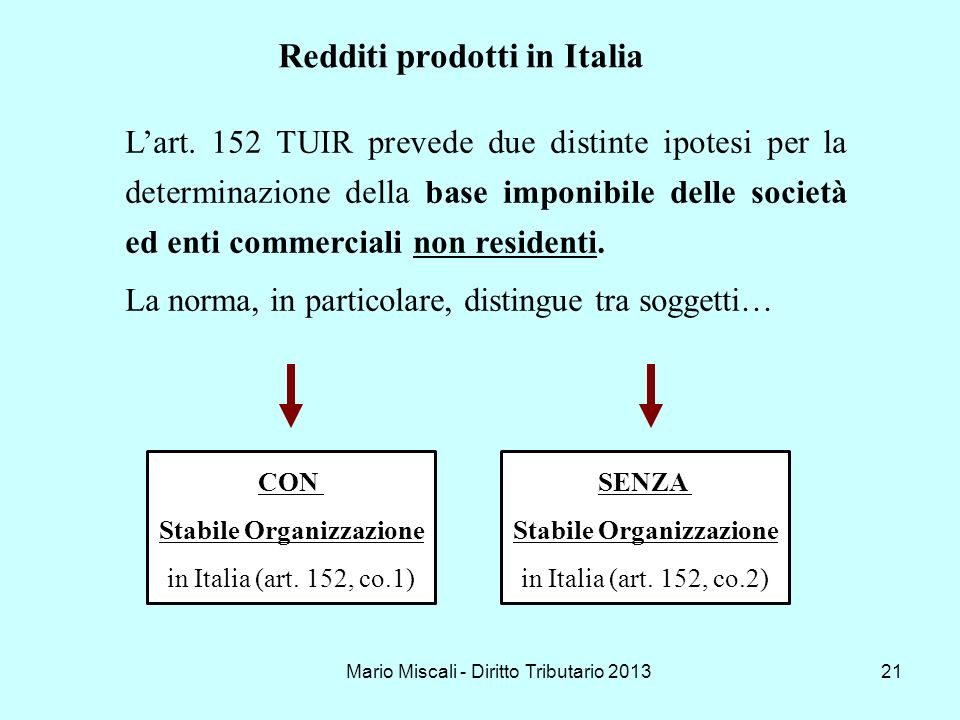 Mario Miscali - Diritto Tributario 201321 Lart. 152 TUIR prevede due distinte ipotesi per la determinazione della base imponibile delle società ed ent