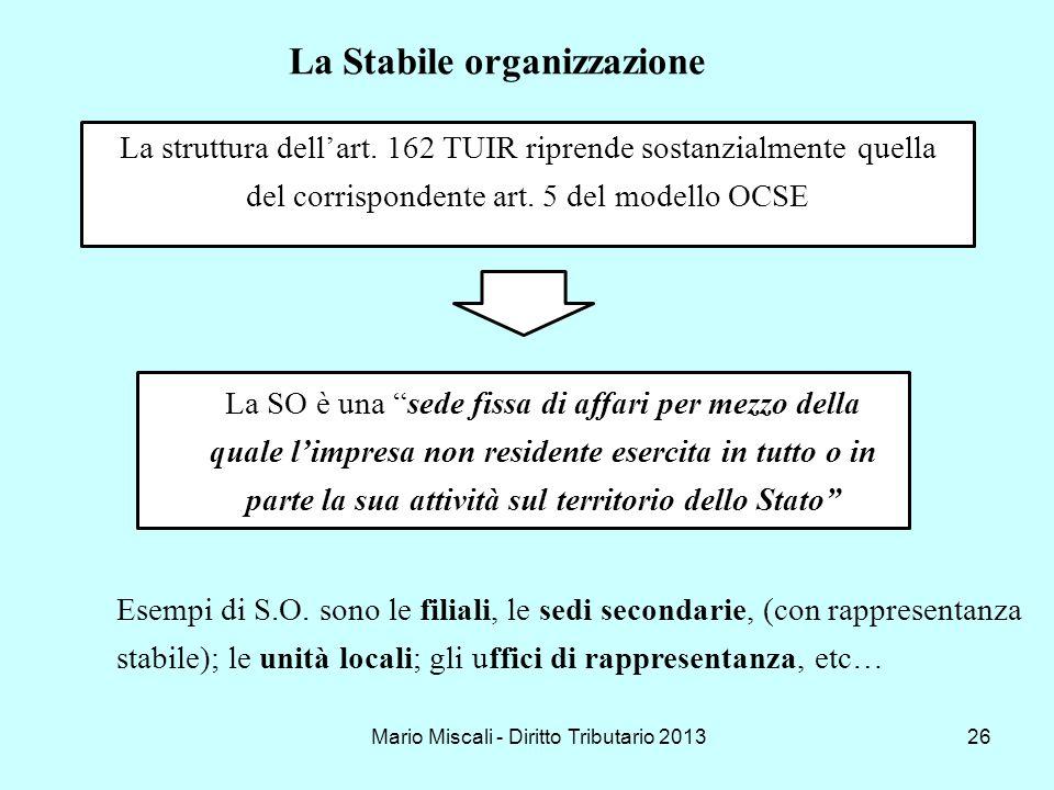 Mario Miscali - Diritto Tributario 201326 La struttura dellart. 162 TUIR riprende sostanzialmente quella del corrispondente art. 5 del modello OCSE La