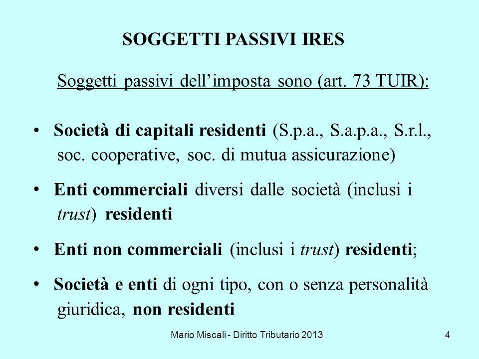 Mario Miscali - Diritto Tributario 20134 Soggetti passivi dellimposta sono (art. 73 TUIR): Società di capitali residenti (S.p.a., S.a.p.a., S.r.l., so