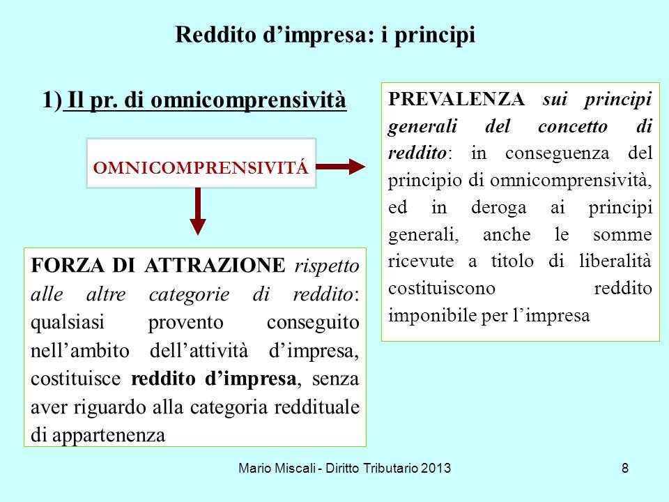 Mario Miscali - Diritto Tributario 20138 Reddito dimpresa: i principi OMNICOMPRENSIVITÁ PREVALENZA sui principi generali del concetto di reddito: in c