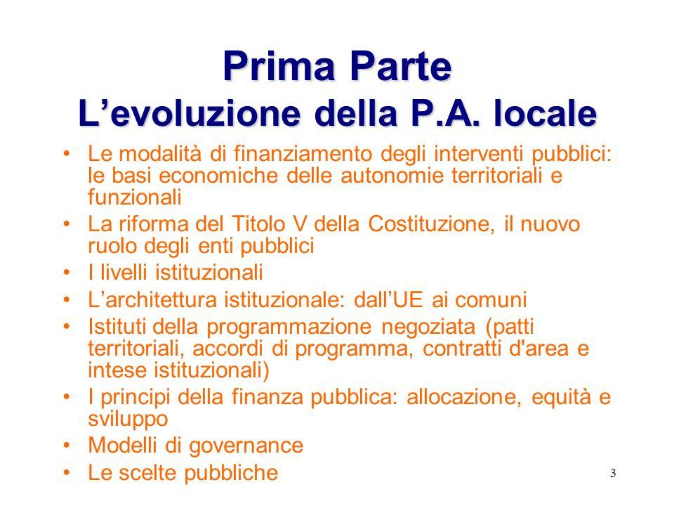 3 PrimaParte Levoluzione della P.A. locale Prima Parte Levoluzione della P.A.