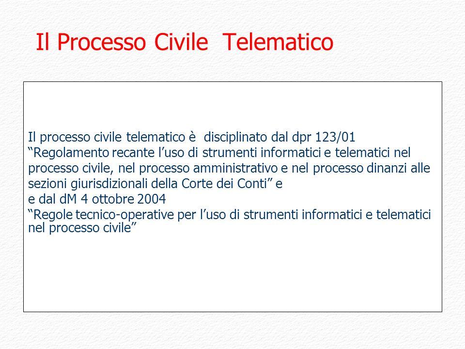 Il Processo Civile Telematico Il processo civile telematico è disciplinato dal dpr 123/01 Regolamento recante luso di strumenti informatici e telemati