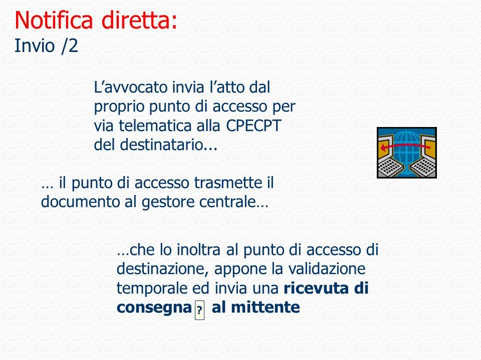 Notifica diretta: Invio /2 …che lo inoltra al punto di accesso di destinazione, appone la validazione temporale ed invia una ricevuta di consegna al m