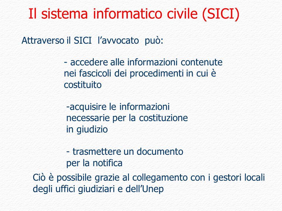 Attraverso il SICI lavvocato può: - accedere alle informazioni contenute nei fascicoli dei procedimenti in cui è costituito -acquisire le informazioni