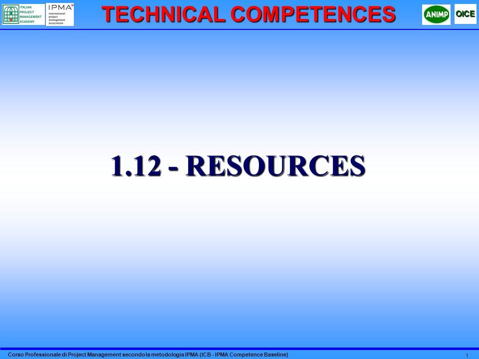 Corso Professionale di Project Management secondo la metodologia IPMA (ICB - IPMA Competence Baseline) OICE 12 2RESOURCES 5.3 - CRITERI DI INSERIMENTO E GESTIONE DEL PERSONALE LE RISORSE COINVOLTE NELLA REALIZZAZIONE DEL PROGETTO DEBBONO AVERE LA PROFESSIONALITÀ, LE COMPETENZE E LE CARATTERISTICHE CONGRUENTI COL RUOLO E CON LA FUNZIONE ASSEGNATA TENENDO ANCHE CONTO DI SPECIFICHE NECESSITÀ, VINCOLI OPERATIVI E/O LOGISTICI DEL PROGETTO, ECC… LE RISORSE DEBBONO ESSERE DOTATE DI MEZZI E STRUMENTI ADEGUATI PER SVOLGERE LE LORO ATTIVITÀ.