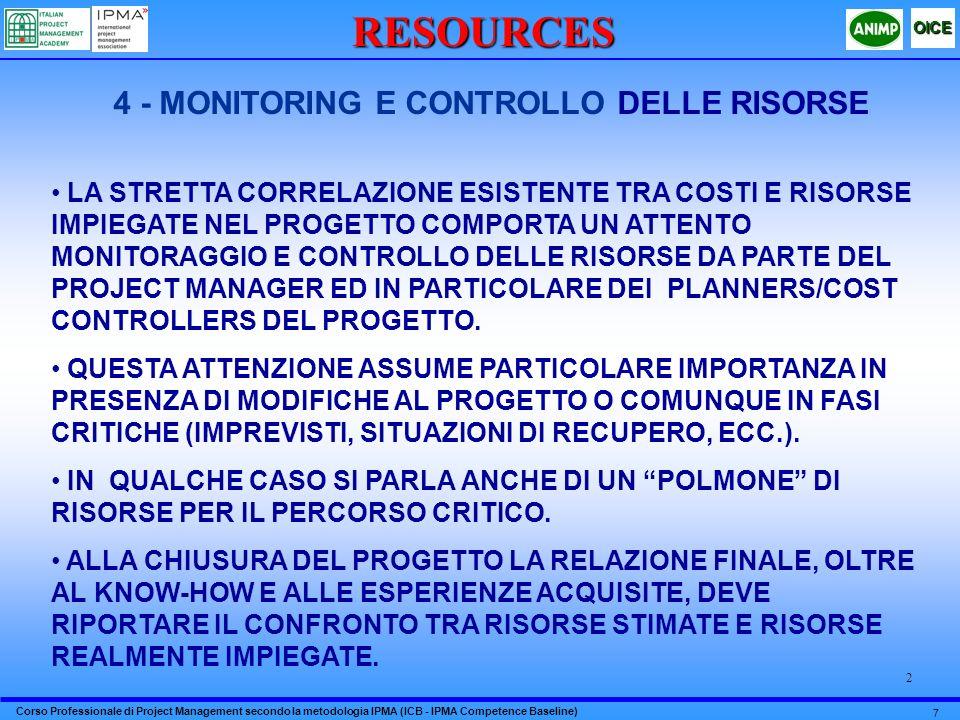 Corso Professionale di Project Management secondo la metodologia IPMA (ICB - IPMA Competence Baseline) OICE 7 2RESOURCES 4 - MONITORING E CONTROLLO DE