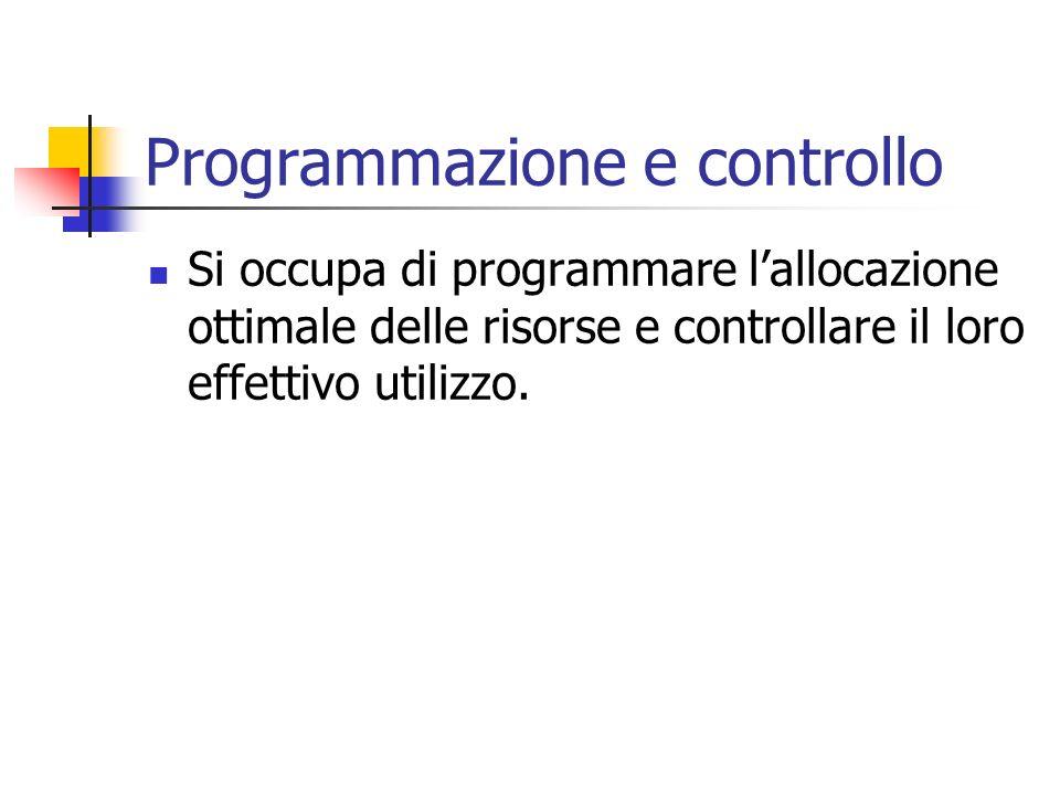 Programmazione e controllo Si occupa di programmare lallocazione ottimale delle risorse e controllare il loro effettivo utilizzo.
